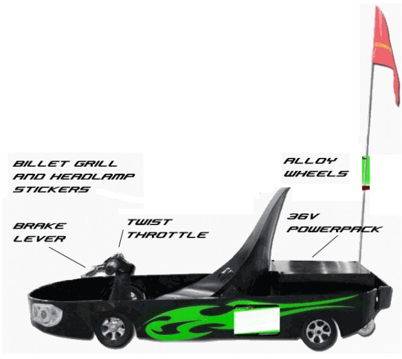 500W Electric Powerkart - Black and Green
