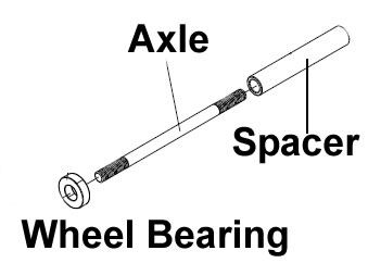 Axle Kit, Rear Moby X/XTR 250-300 with 6 nuts